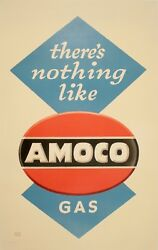 Original Vintage Poster There's Nothing Like Amoco Gas By Lucian Bernhard 50's