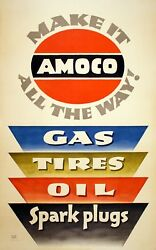 Original Vintage Auto Poster Make It Amoco All The Way By Lucian Bernhard Oil