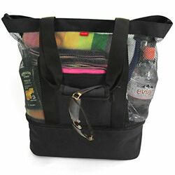 Odyseaco Aruba Mesh Beach Tote Bag with Insulated Picnic Cooler (Black)