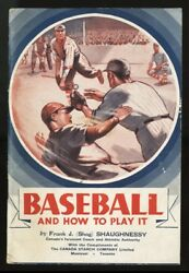 1936 Canada Starch Hockey Premium Shag Shaughnessy Baseball And How To Play It