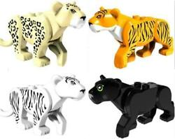 4PCS  Jungle Rescue Tiger Cat  Black Panther Leopard White Tiger  LEGO