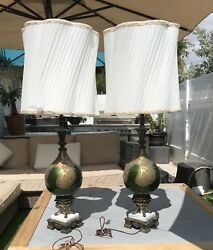 Gorgeous Pair Of Tall Antique Glass Green Lamps