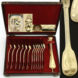 Antique French Vermeil 18k Gold On Sterling Silver 13pc Teaspoon Sugar Tong Set