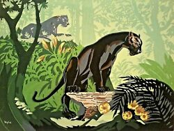 1960's SILKSCREEN Artist SIGNED WYLIE STYLIZED BLACK PANTHERS in JUNGLE NR
