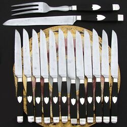 Antique French Sterling Silver And Ebony Handle 12pc Dinner Knife Set 2pc Serving
