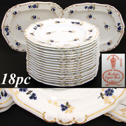 Antique Royal Crown Derby 10.5 Plate Set, 14pc With 2pc Serving Dishes, C. 1899