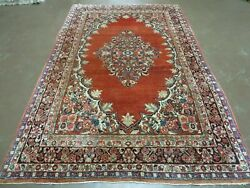5' X 8' Antique Hand Made Turkish Wool Rug Medallion Open Field Red Nice