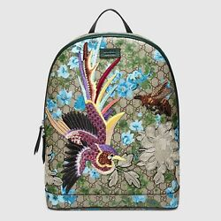 Gucci XL GG Supreme Floral Backpack wBird and Bee Patches 419584 8936