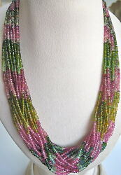 NATURAL MULTI COLOUR TOURMALINE BEADS 695 CARATS FACETED ROUND GEMSTONE NECKLACE