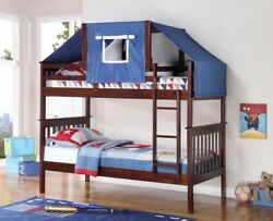 Donco Kids Twin over Twin Bunk Bed in Dark Cappuccino Blue Tent