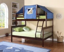 Donco Kids Twin over Full Bunk Bed in Dark Cappuccino Blue Tent