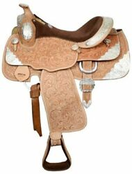 Double T 16 Close Contact Show Saddle Fully Tooled Leather Sqhb Tons Of Silver