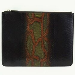 Auth GIVENCHY Clutch bag Python leather Black Silver Metal fittings Purse 214428