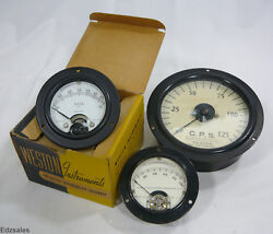 3 Weston Gauges - Cps 754-r / Dc Volts 1301 / Microamperes 301