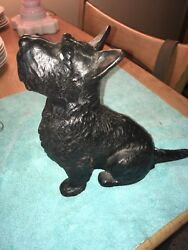 Estate Antique Cast Iron Scottie Dog Scottish Terrier Black Door Stop Hubley
