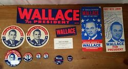 Huge Lot Wallace For President Political Lot Bumper Stickers, Brochures, Etc