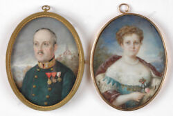 M. Plegerl Colonel Victor Stusche And His Wife High Quality Miniatures 1914