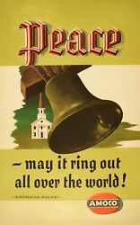 Original Vintage Poster Amoco - Peace May It Ring Out By Lucian Bernhard 50's