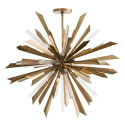 Modern Star Waldorf Pendant In Antique Brass And Vintage Silver Finish