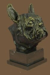 DETAILED HOT CAST BRONZE ENGLISH FRENCH BULLDOG SIGNED SCULPTURE STATUE FIGURE