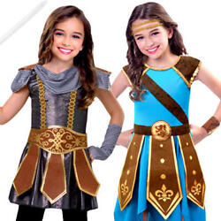 Warrior Girls Fancy Dress Medieval Tudor Viking Knight Childrens Kids Costumes
