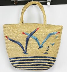 Vtg 70s Straw Beach Tote Bag Blue Bird Seagulls Embroidered Waterproof lining