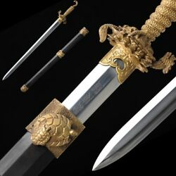 Hand Forged High Quality pattern steel Nine Gui Sword Pure copper Fittings #5032