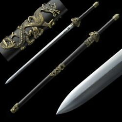 Hand Forged High Quality pattern steel Fiery dragon Sword copper Fittings #5036