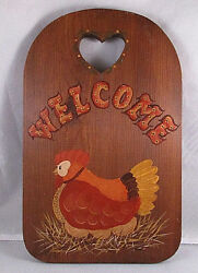 Vintage Country Chicken On Nest Wooden Welcome Sign Wall Hanging Cutting Board