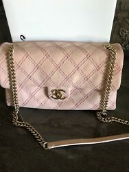 Authentic Pink Leather Suede Flap Bag
