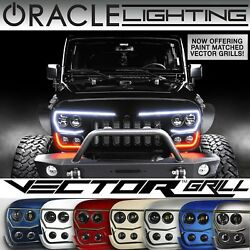 Oracle Led Vector Grill For 07-18 Jeep Wrangler Jk - Black And Painted - 5817