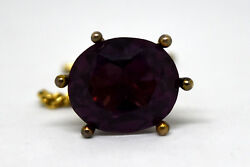 Antique Large 10k Solid Gold And Pink/purple Sapphire13.5ct Pin