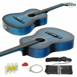 38 Inch Beginners Acoustic Guitar With Free Case Strap Tuner And Pick In Blue