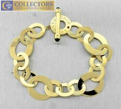 Genuine Roberto Coin Chic And Shine Circle Toggle 18k Yellow Gold Bracelet 7.75