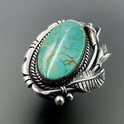 Handcrafted Sterling Silver Oval Turquoise Calla Lily Southwestern Ring Size 7