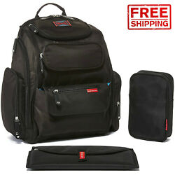 Diaper Bag Backpack with Stroller Straps High-quality Water Resistant Black Bag