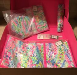 NWT Lilly Pulitzer 5 Pcs Catch the Wave GWP Garment BagHanging Makeup Case+++