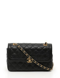 CHANEL MATELASSE double chain single flap shoulder bag black vintage processing