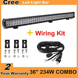 36inch 234w Led Light Bar Work Combo Offroad Ute Boat 4wd Ford +wiring Kit
