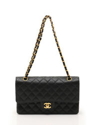CHANEL MATELASSE W flap W chain shoulder bag caviar skin Black Gold Hardware