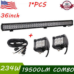 36inch 234w Cree Led Work Light Bar Combo And 2x 18w 4''inch Lights And Wiring Kit