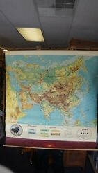 Vintage Cram's Physical-political Pull Down Map Of Asia 54w X 54 L When Out