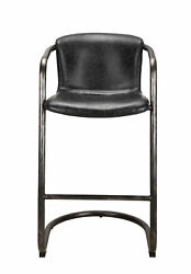 Moes Home Collection 40 Leather Iron Bar Stool Antique Black Set Of 2
