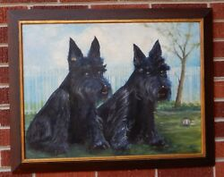 Vintage MID-CENTURY Black SCOTTISH TERRIER Dogs Pals Oil Painting Framed  c1970s