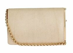 DOLCE & GABBANA Bag Beige Varano Lizard Shoulder Clutch Women Evening