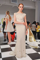 Alice+olivia Cream White Pearls Silver Beads Gown Dress Sz.0 Ret.2455 Nwt