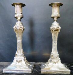Vintage Early 20th Century Sheffield Candle Holders Silver-plate