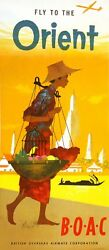 Original Vintage Travel Poster Boac - Fly To The Orient C1950 British Overseas