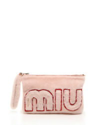 miu miu MONTONE LETTER clutch bag 2WAY Sheep Fur Leather pink