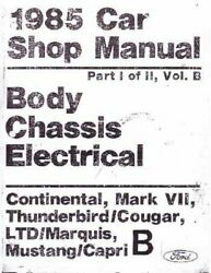Oem Repair Shop Manual Loose Leaf For Mercury Capri, Cougar, Marquis 1985